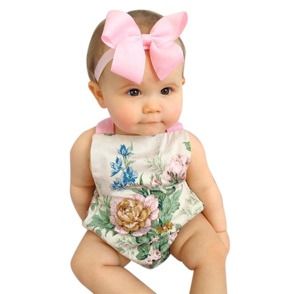 2Pcs/Set Baby Kids Girl's Sleeveless Floral Printed Playsuit Jumpsuit Rompers One-Pieces +Headband