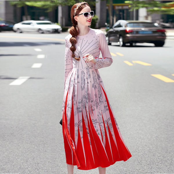 High quality 2017 new designers autumn women fashion runway Maxi dress Long sleeve Novelty print pleated  Vintage long dress