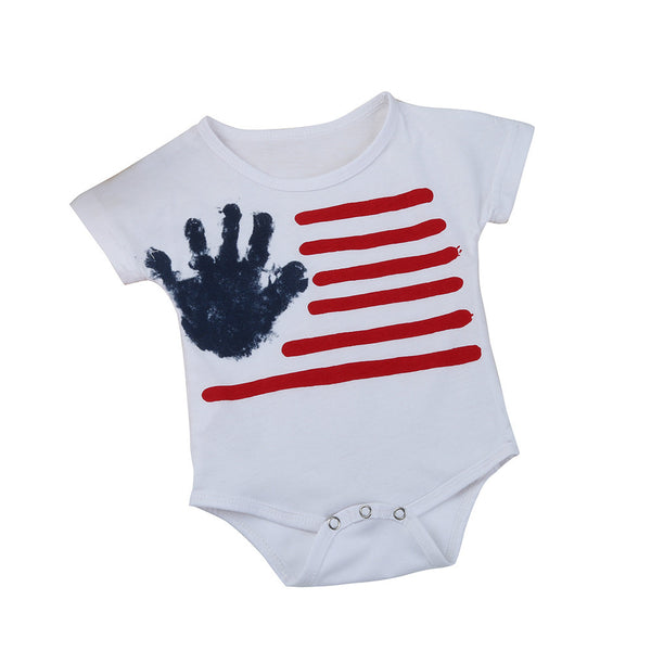 2017 New Small Babies Jumpsuits Hands Stripe Rompers printing Kids Clothes Boys Girls Romper Sunsuit Clothes Set