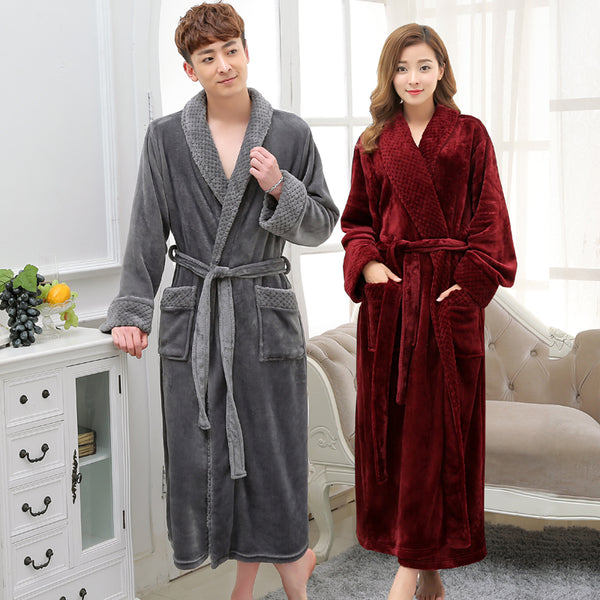 b7009fbc56 Hot Selling Lovers Long Warm Coral Fleece Bathrobe Men Winter Super So