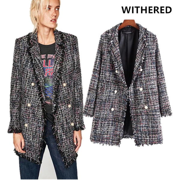 Withered women blazer 2017 european style tweed notched single breasted long jacket blazer pearl button decoration women blazer