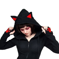 Autumn Women Casual Hoodies Long Sleeve Hoody 3D Cat Ears Hoodies Female