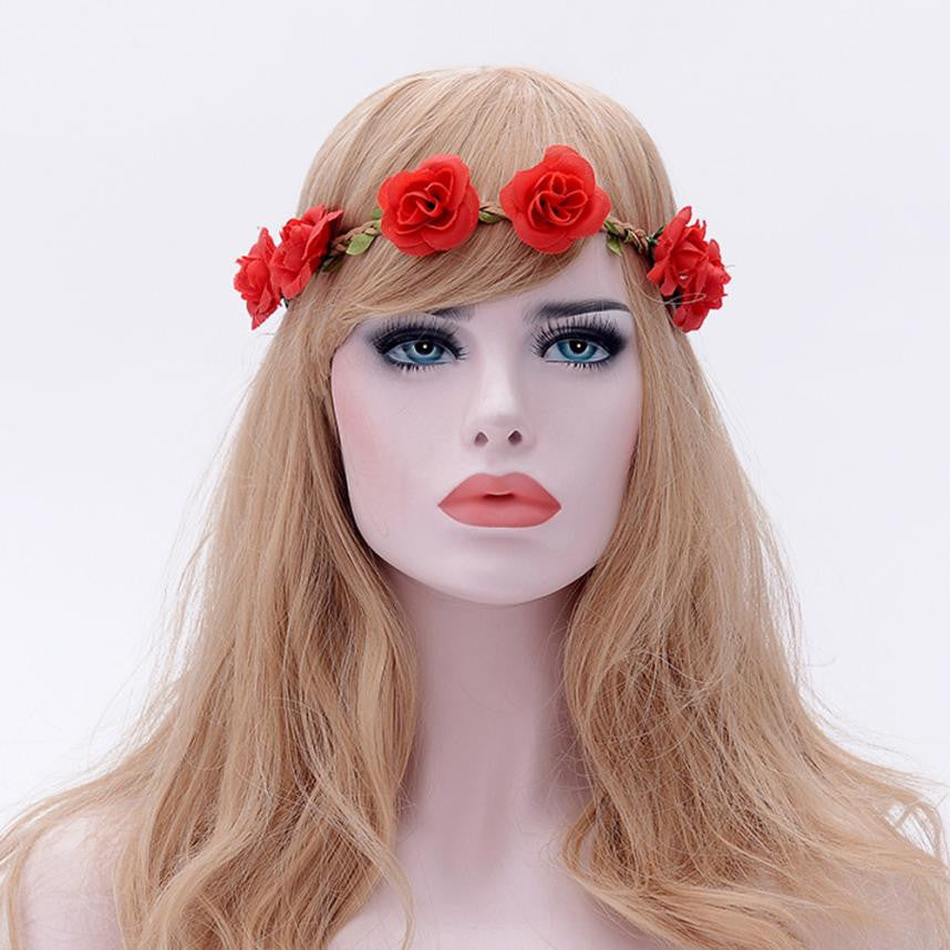 Ladies Floral Flower Festival Wedding Garland Hair Head Band Beach Party