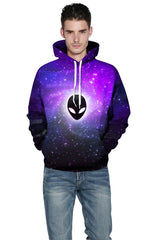 Harajuku 3D Print Galaxy Purple aliens Fashion Sweatshirts Long sleeve with hat Men Women vogue Hoodies Tops Tracksuit Pullover