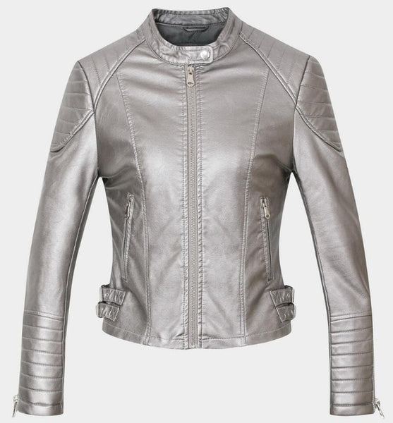 17508b08f New 2018 Women s Winter Autumn Brown bomber motorcycle Leather jackets