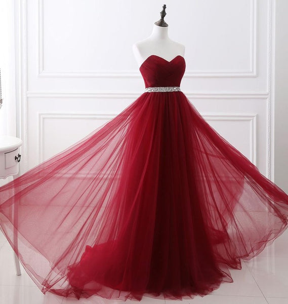 056df68a790c ... NOBLE WEISS Dark Red Evening Dresses Net Pleat Beading Custom Made  Lace-up Back Prom ...