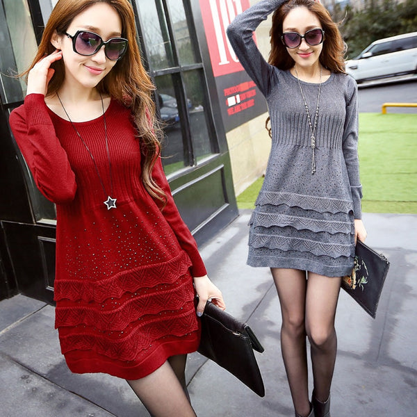 The new autumn and winter sections hedging long-sleeved sweater and long sections of high-quality drilling hot bottoming dress