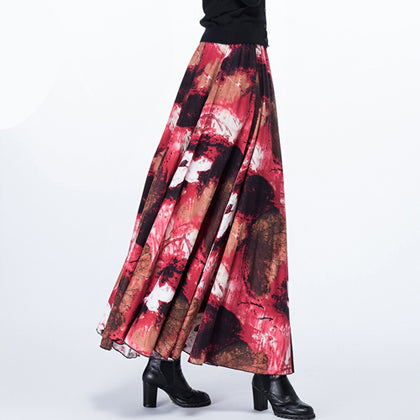 2adbc822e2 ... New Fashion Top Sale Long Flowing Thick Cotton Multicolor Print Skirts  Bohemia Style Ethnic Print Linen ...