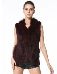 Classica Womens Real Fur Vests with Raccoon Fur Collar Casual Real Fur Gilet Knitted Rabbit Fur Waistcoat with Tassels LX00003