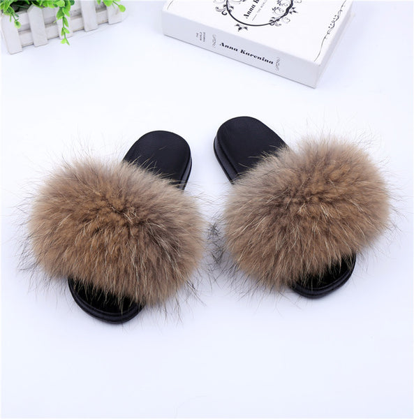 bef64ae2e ... Luxury Genuine Raccoon Fur Flat Shoes Women Fashion Fur Sandal Shoes  Handmade Female Slides Indoor Outdoor ...