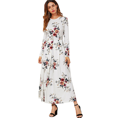 f5278ab160 ... SHEIN Flower Print Box Pleated A Line Dress Casual Women Autumn Dress  White Long Sleeve Floral