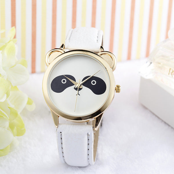 Fashion Neutral Diamond Lovely Panda Face Faux Leather Quartz Watch