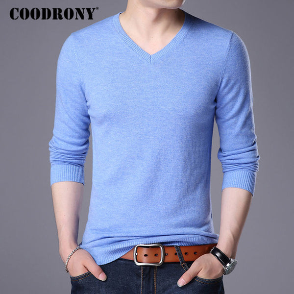... COODRONY Merino Wool Sweater Men Casual Classic V-Neck Pull Homme 2017  Winter New Arrival ... 7d1d9b6e2