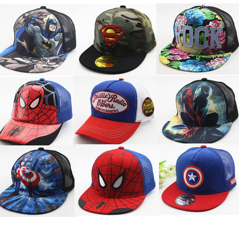 Many Style Children Summer Cartoon Snapback Adjustable Kid Boys&Girls Baseball Cap Hip-Hop Hat Outdoor Mesh Cap 2-7 Years