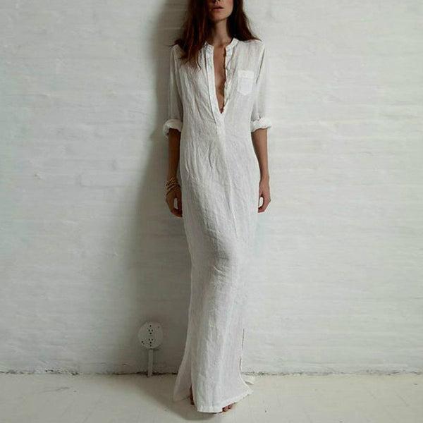 06d1a27d6d 2017 Autumn Shirt Dress Women Boho Beach White Long Maxi Dresses Casua