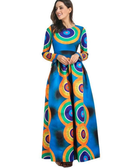 Blue Printing Long Sleeve Women's Maxi Dress