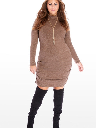 Brown Turtle Neck Plus Size Women\'s Sweater Dress