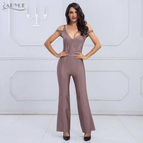 19cb90026c Adyce 2017 HOT SALE Sexy V Neck Sleeveless Backless Long Rompers Chic Women  Celebrity Club Full