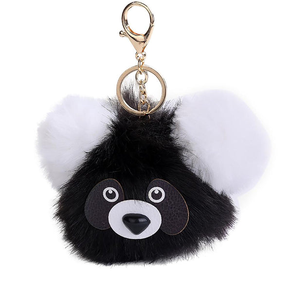 15CM Cute Panda Keychain Pendant Women Key Ring Holder Pompoms Key Chains