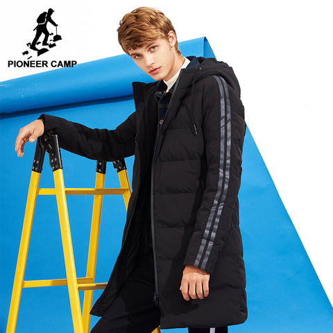c0570c5abb Pioneer Camp new style thick winter down jacket men brand-clothing hooded  long warm white
