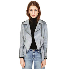 Faux Leather Suede Jackets Women Autumn Short Slim Basic Jackets Female Long Sleeve Coat 2017 Winter Cool Motorcycle Streetwear