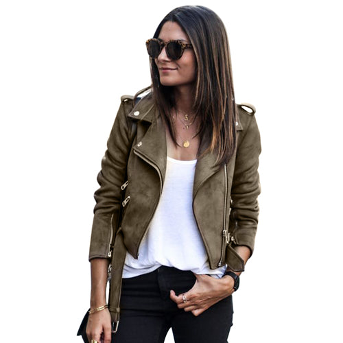 cafb4132b Faux Leather Suede Jackets Women Autumn Short Slim Basic Jackets Female  Long Sleeve Coat 2017 Winter Cool Motorcycle Streetwear