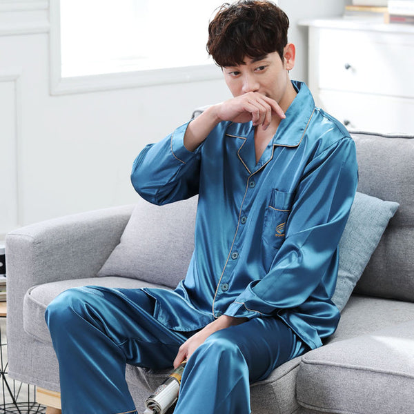 753a4bbe15 ... CherLemon High Quality Silk Men Pajamas Sleepwear Long-Sleeved Silk  Satin Nightwear Soft Spring Autumn ...