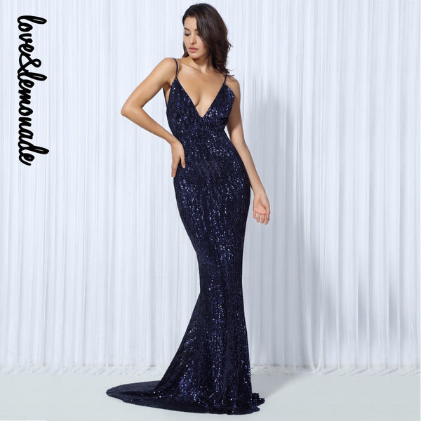 Love&Lemonade Sexy  Elastic Sequin V Collar Exposed Back Maxi Dress NAVY/SILVER/PINK/BLACK/RED/Champagne LM0045