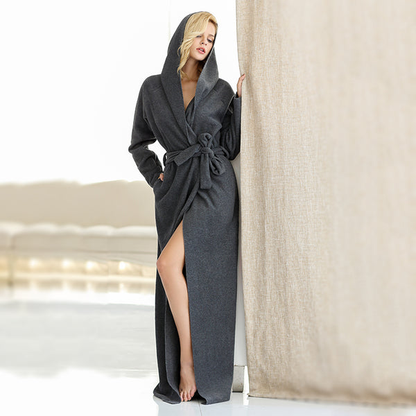 5914bf313d Microfiber Fleece Bathrobe Hooded Ultra Long Robes Loungewear female
