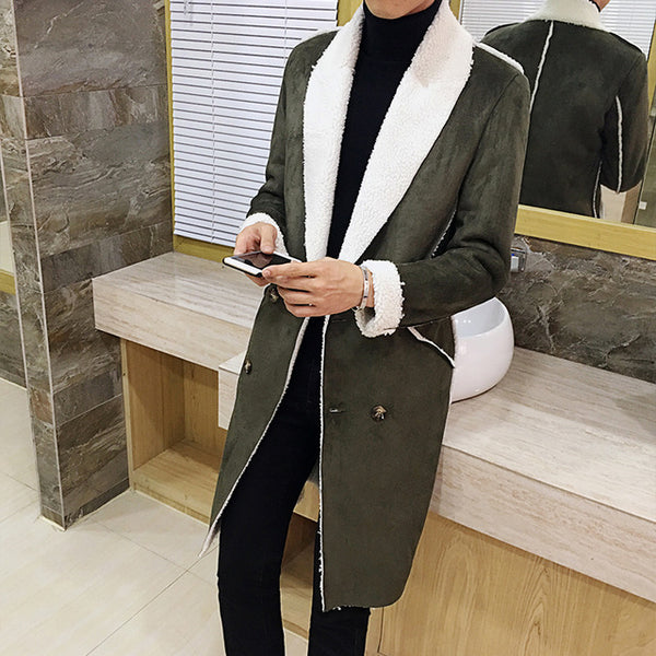 d74be507a688 ... 2017 Long Overcoat Men Suede Double Breasted Trench Coat Men Fur Collar  Slim Fit Brown Green