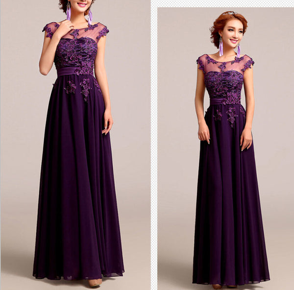 ... CEEWHY Beading Embroidery Prom Dresses Formal Gowns Wedding Party  Dresses Elegant Long A-Line Chiffon 9bbfd5830126