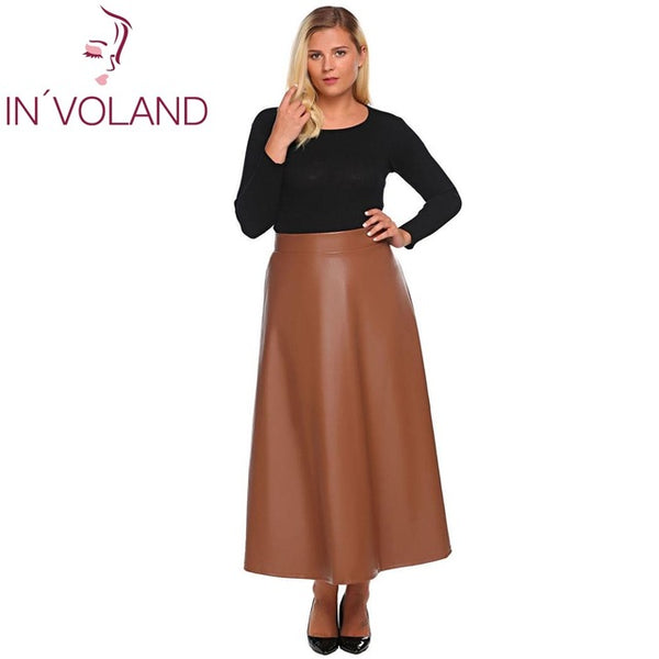 IN\'VOLAND Women Leather Skirt Maxi Plus Size 5XL Autumn ...