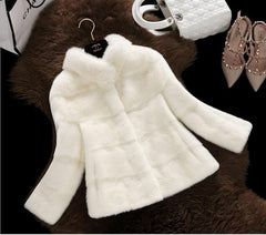 Faux Fur Coat 2016 Fashion Women's Winter Jackets Loose  Warm Stand collar Mink Fur Coat Of Artificial Fur Casaco De Pele BF308