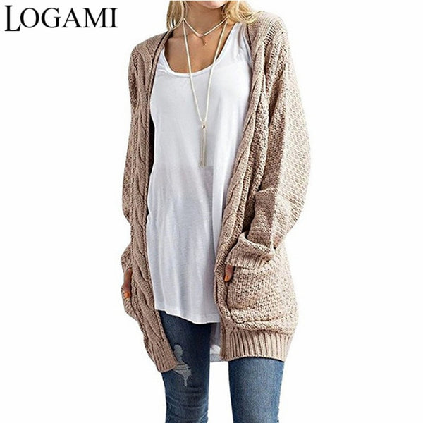 7c1097a3b9d56e LOGAMI Long Cardigan Women Long Sleeve Knitted Sweater Cardigans Autum