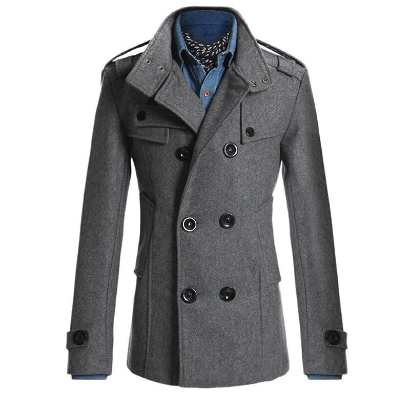 uk store nice shoes newest Men Winter Autumn Trench Coats Smart Casual Office Wool Blends Coat Jacket  Slim Fit Business Formal Fashion Overcoat Top Outwear