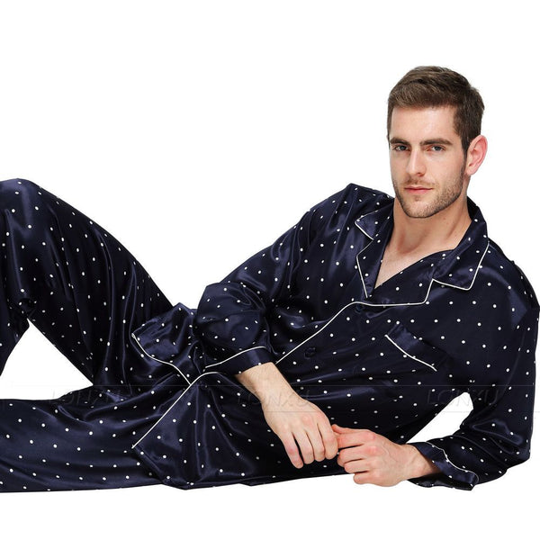 6c7f3262289dc Mens Silk Satin Pajamas Set Pyjamas Set PJS Sleepwear Set Loungewear U