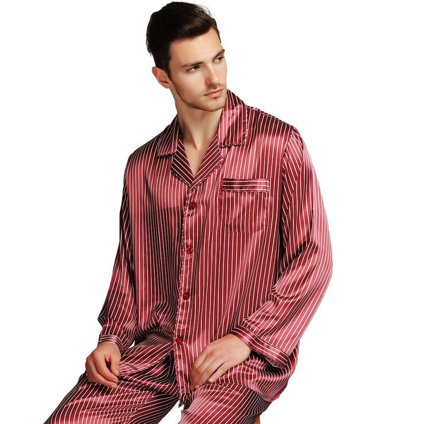 a241196997984 Great Gifts  Mens Silk Satin Pajamas Set Pajama Pyjamas PJS Sleepwear