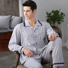 CherLemon Autumn Men Pajama Sets Breathable Cotton Long-Sleeve Male Pyjamas Sleepwear Plus Size M-4XL Pajamas Soft Homewear