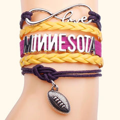 Football Handmade Leather Braid Fashion Bracelet