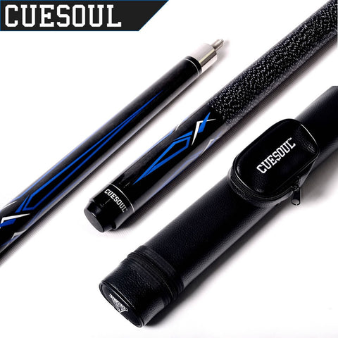 Cuesoul 1/2 Jointed Maple Pool Cue Stick 19 Oz and Pool Cue Case E102+CASE