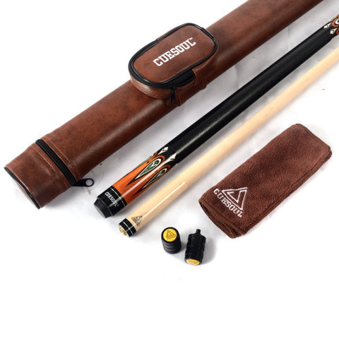 CUESOUL 1/2 Jointed Billiard Pool Cue Stick With Brown Case  Clean Towel Joint Protector CSBK003+CASE