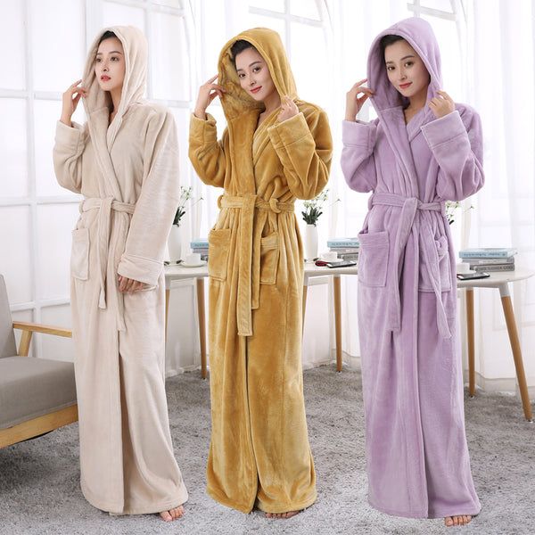 Lovers Hooded Extra Long Thermal Bathrobe Women Men Plus Size Winter T 678e42608