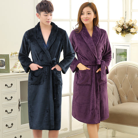 86c1f1668f New Lovers Soft as Silk Winter Warm Long Bathrobe Men Flannel Kimono Bath Robe  Mens Lounge