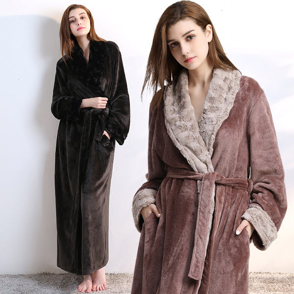 e4e8e467b68 Women Men fur Neck Thick Warm Long Flannel Bathrobe Plus Size Kimono B