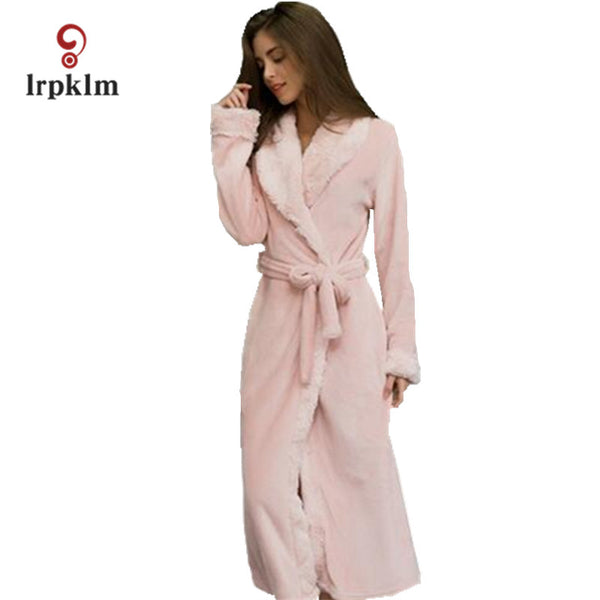 Winter Mink Flannel Sexy Women's Sleep & Lounge Female Robes Loose Sleep Robes For Women Pajama Coral Fleeces Bathrobe SY358