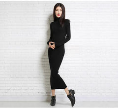 2017 new autumn and winter sexy long dress soft feminine with long collar cashmere sweater female turtleneck knitted pullovers