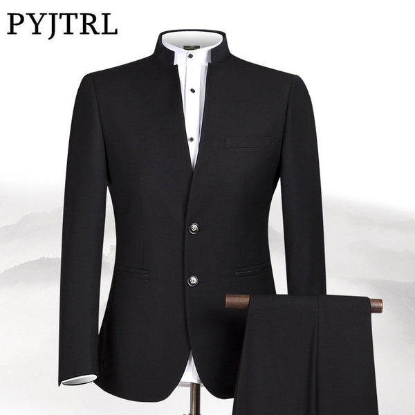 a2bf47bec PYJTRL New S-4XL Men Chinese Tunic Collar Bridegroom Suit Formal Wear