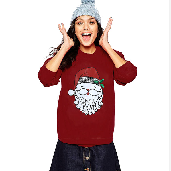 Women Long Sleeve Christmas Santa Claus Print Party Pullovers T-shirt Tops