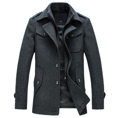 New Winter Wool Coat Slim Fit Jackets Fashion Outerwear Warm Man Casual Jacket Overcoat Pea Coat Plus Size M-XXXL