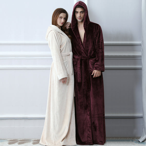Lovers Plus Size Hooded extra Long Flannel Warm Bathrobe Men Women Thi e48b8509a